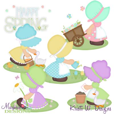 Spring Bonnet Girls SVG Cutting Files + Clipart.