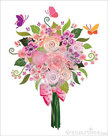 Illustration of Spring flower bouquet with butterflies on.