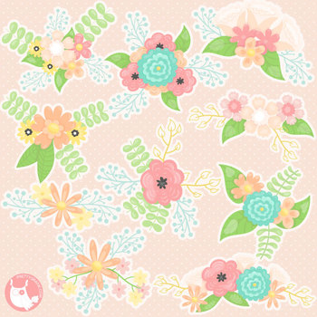 Sale Spring bouquet clipart commercial use, vector graphics, digital.