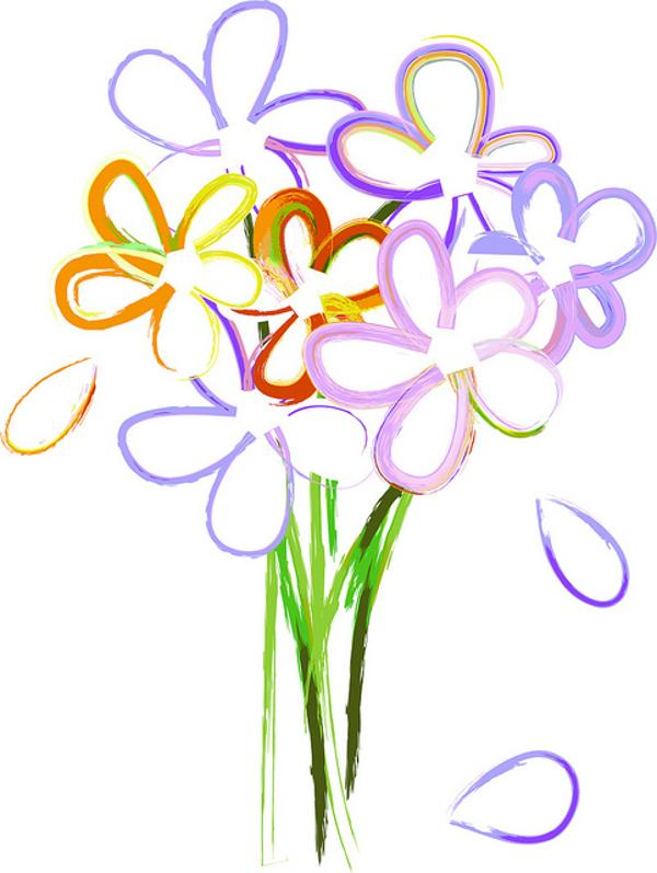 Bouquet Of Spring Flowers Clip Art.