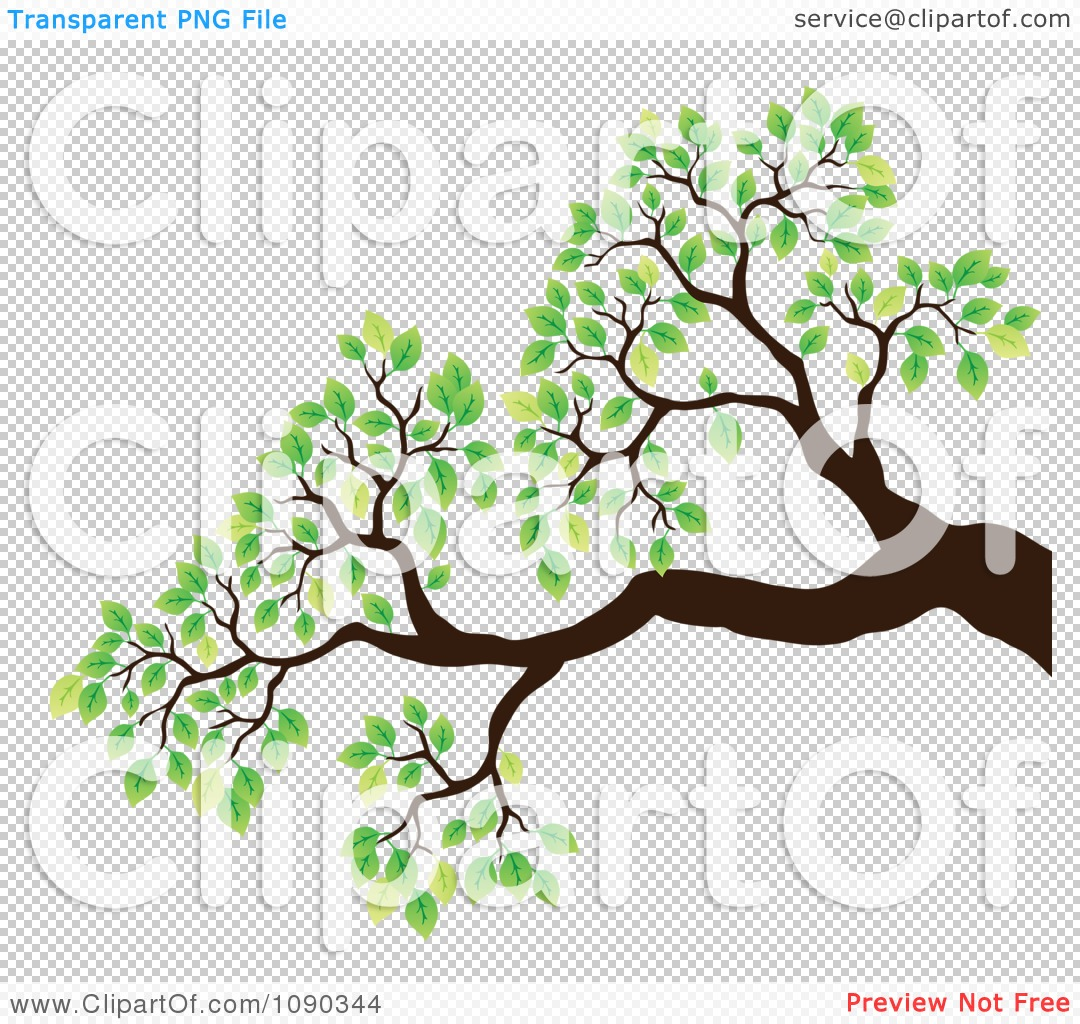 Clipart Tree Branch With Green Spring Leaves.