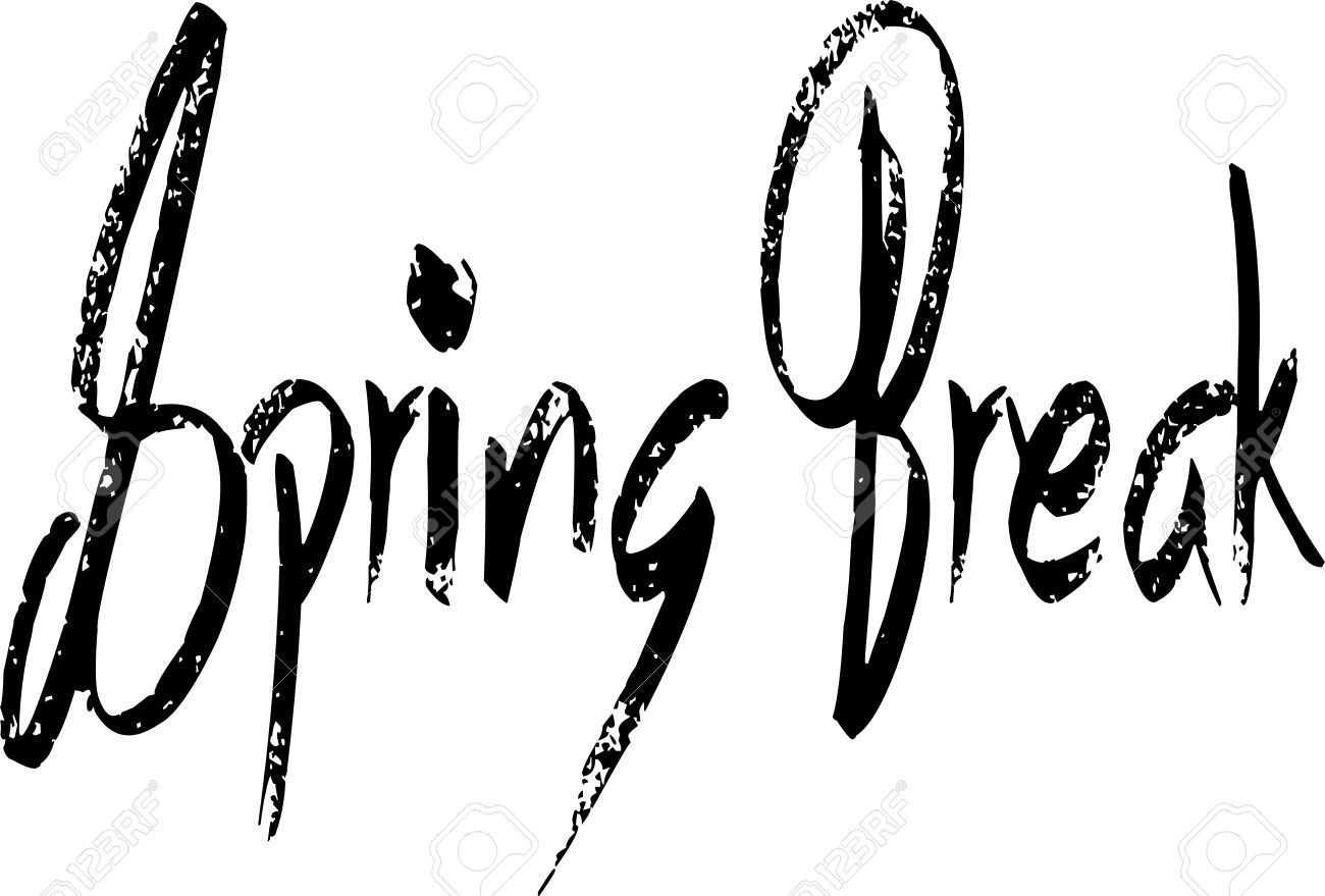 Spring Break Text Illustration On White Background Royalty Free.