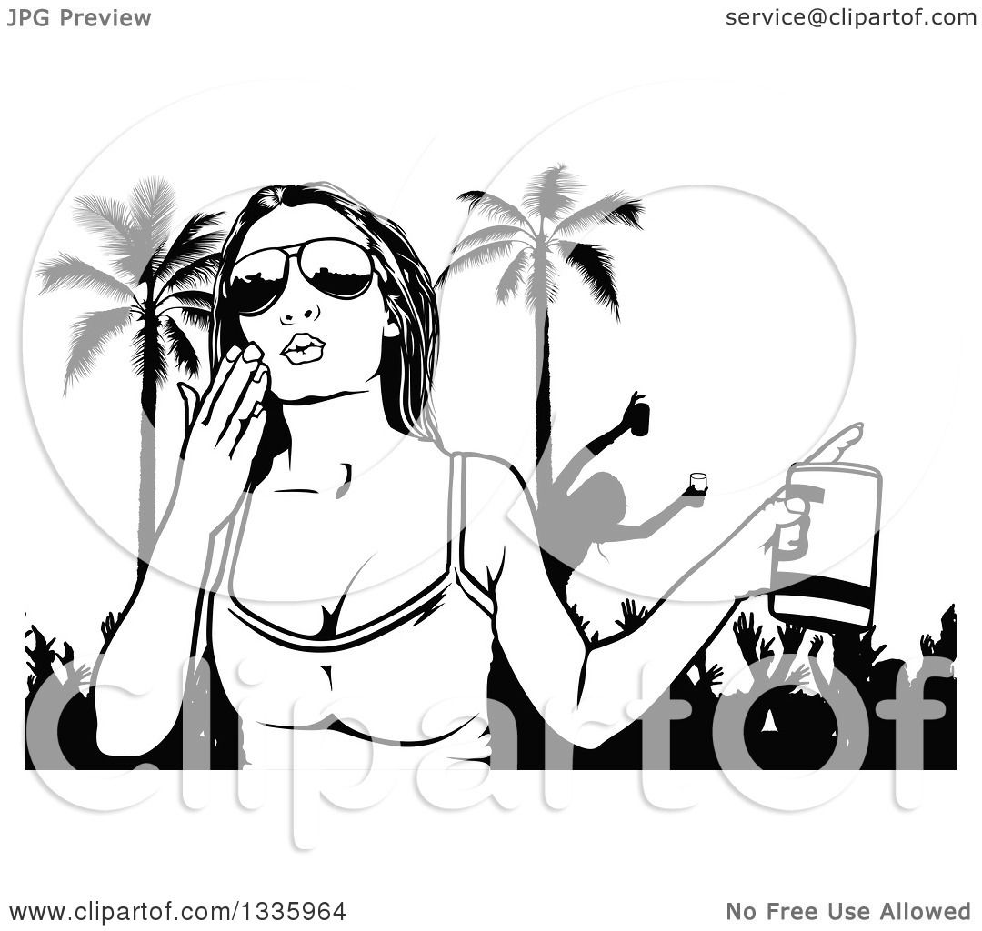 Clipart of a Black and White Woman Wearing Sunglasses, Holding a.