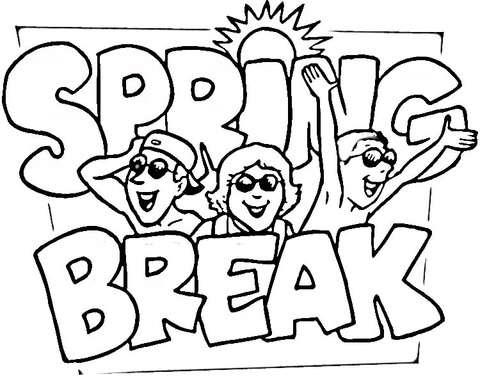 Spring Break coloring page.