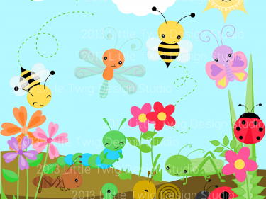 Garden Bug Friends Digital Clipart, clip art collection.