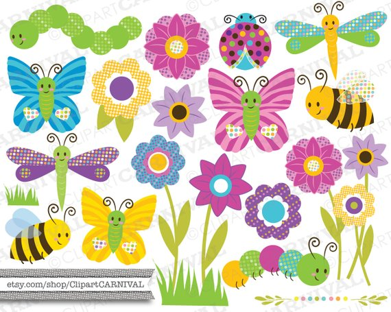 Instant Download Digital clip art bugs flowers insects cute.