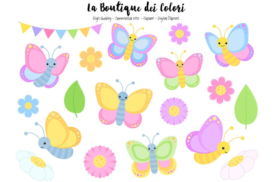 Pastel Butterfly Clipart.