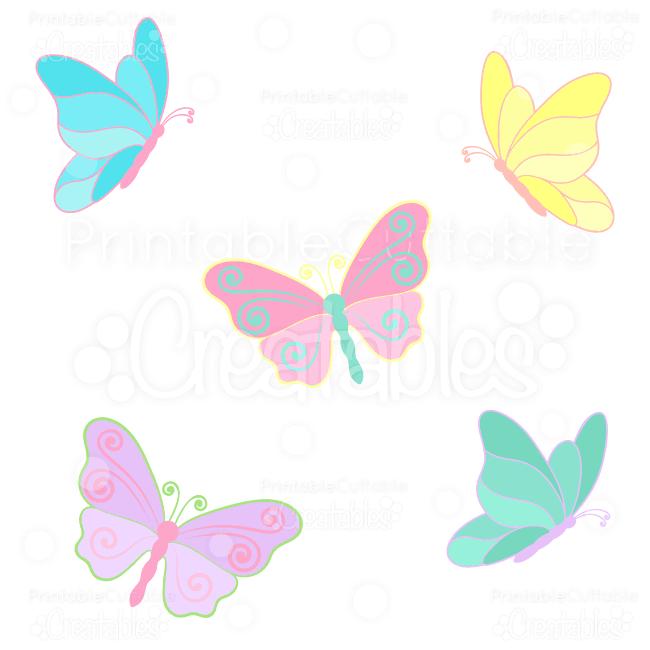 Spring Butterflies SVG Cuts & Clipart.
