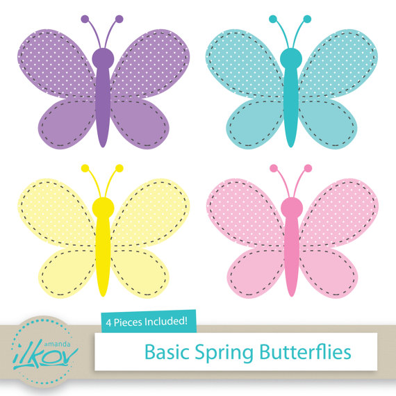 Basic Spring Butterflies Clipart for Digital Scrapbooking.