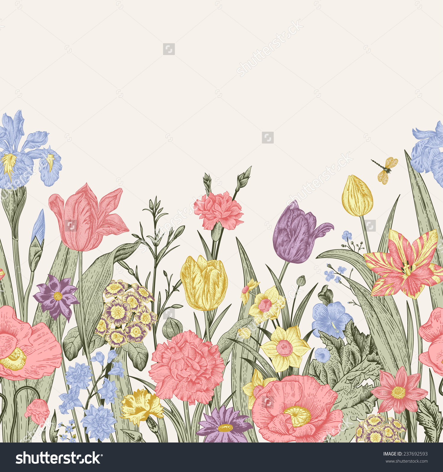 Spring Flowers Seamless Floral Border Pastel Stock Vector.