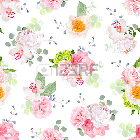 Small Spring Bouquets Of Rose, Peony, Camellia, Orchid, Carnation.