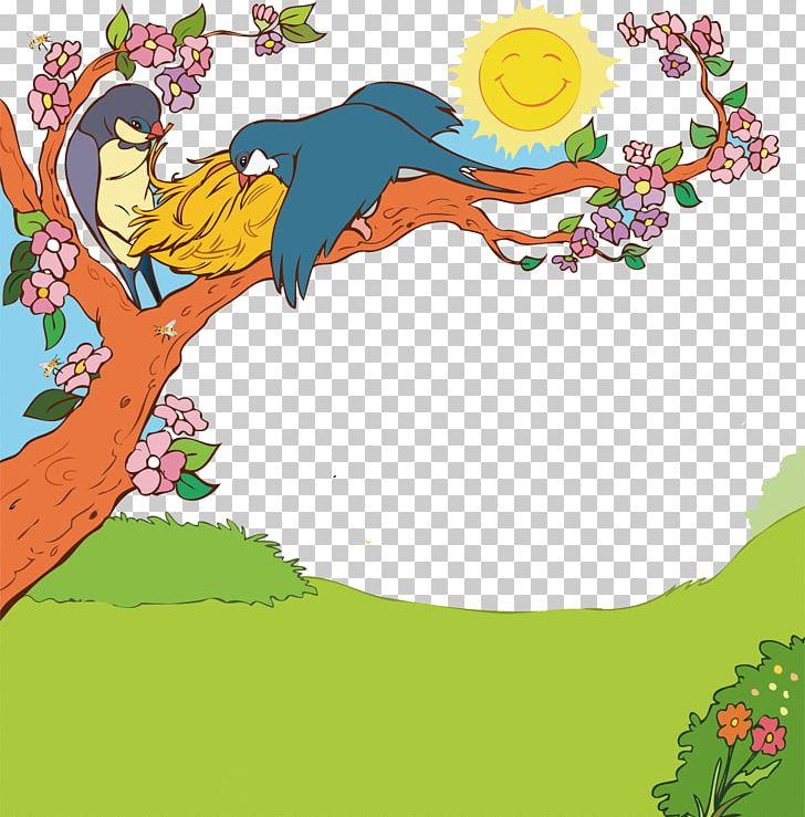Green Meadow Spring Poster Cartoon Promotional Material PNG.