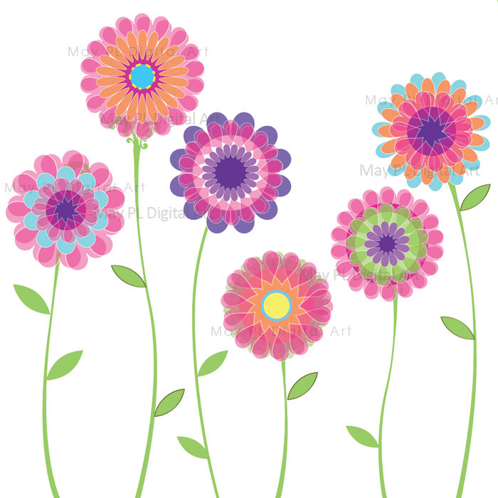 Pink Flowers Spring Flowers Decoration Clipart by.