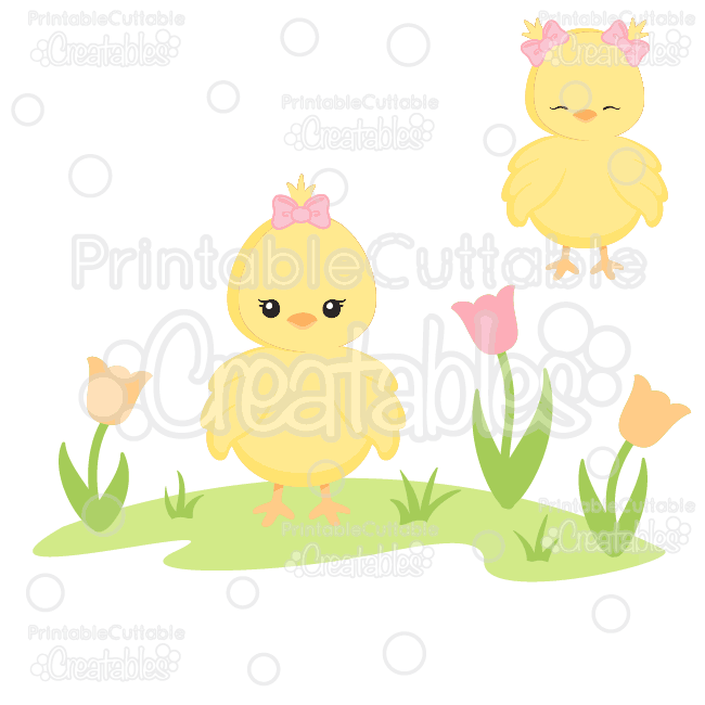 Cute Spring Chick SVG Cut Files & Clipart.