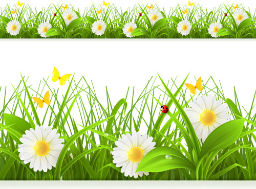 Spring flower with grass art background Free vector in.