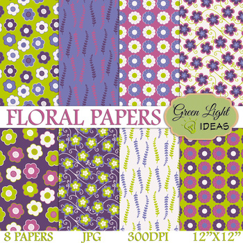 FREE Floral Spring Backgrounds / Purple Floral Digital Papers / Spring  Clipart.
