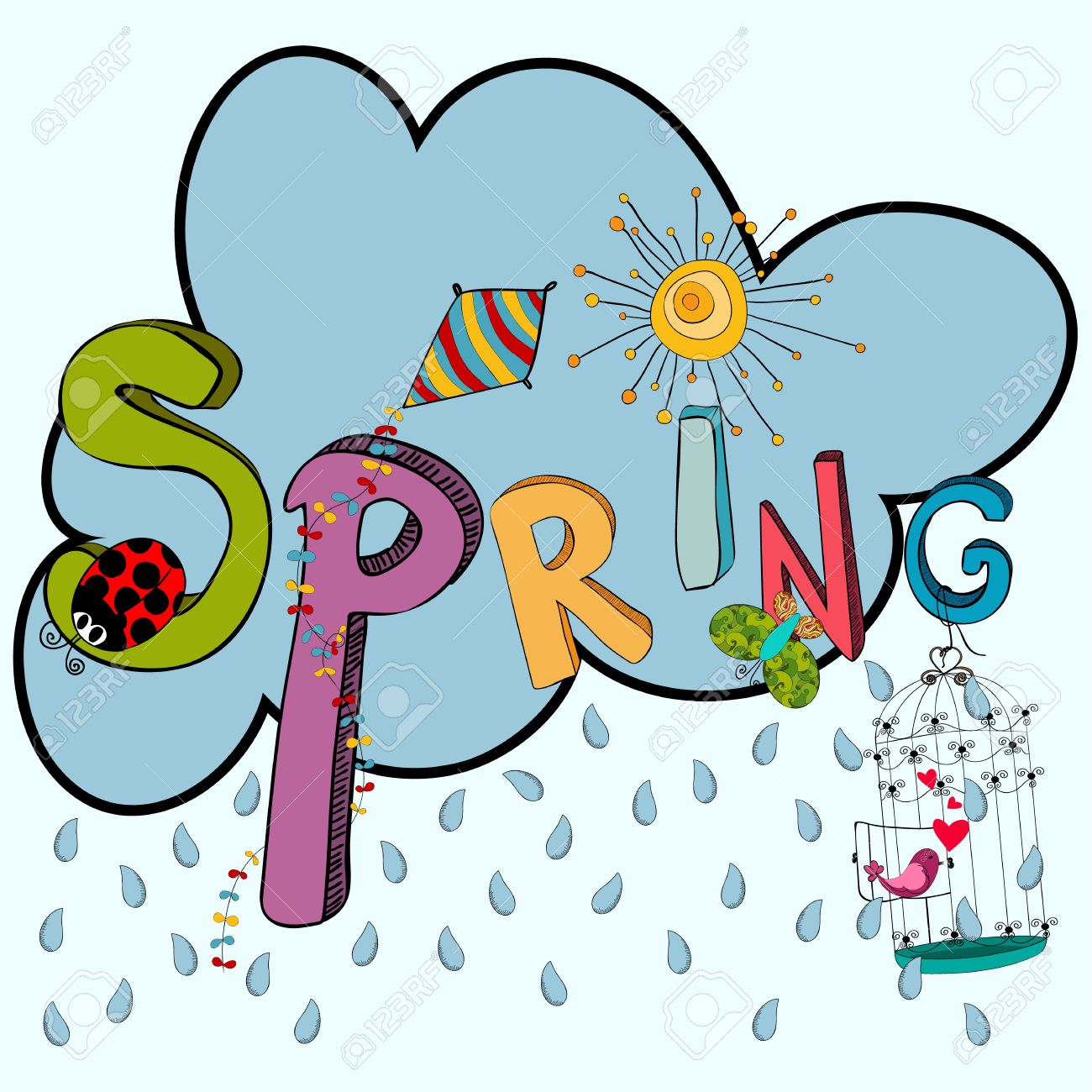 Cloud Rain With Vibrant Spring Elements: Kite, Ladybug, Birds.