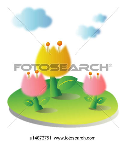 Clipart of tulip, spring, clouds, sky, flower, plant, season.