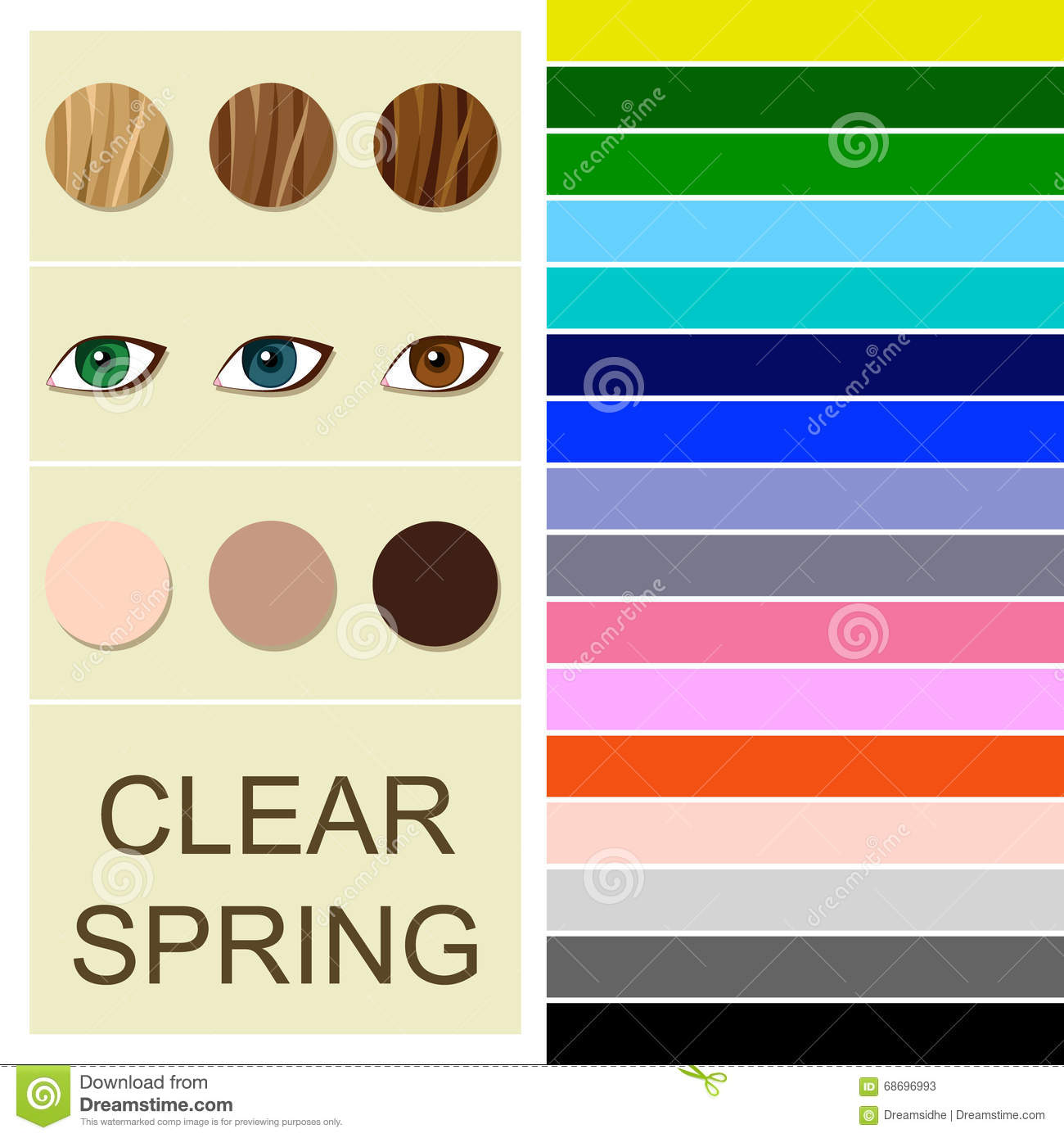 Stock Seasonal Color Analysis Palette For Clear Spring Type Stock.
