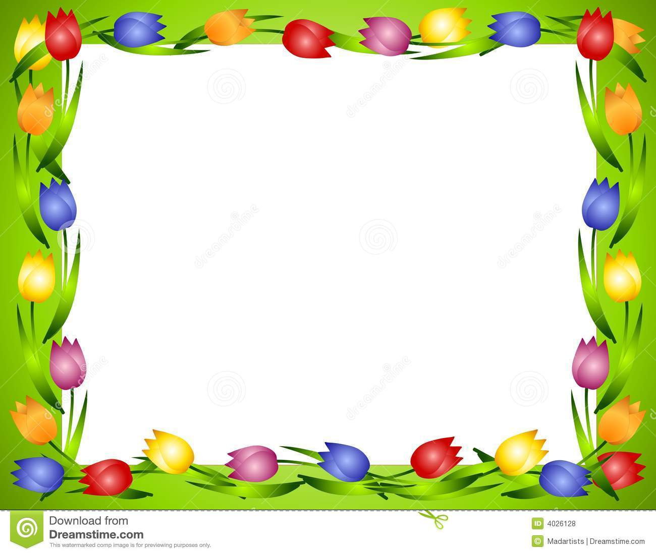 Spring Tulips Flower Frame Or Border 2 Royalty Free Stock Photos.