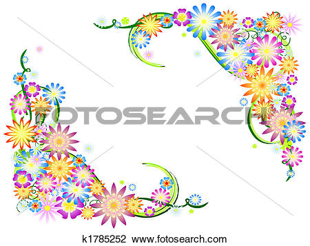Clip Art of spring flowers in colours k1785252.