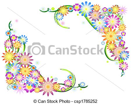 Clip Art of spring flowers in colours.