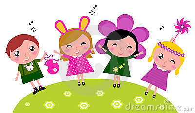 Spring Kids With Costumes Stock Vector.