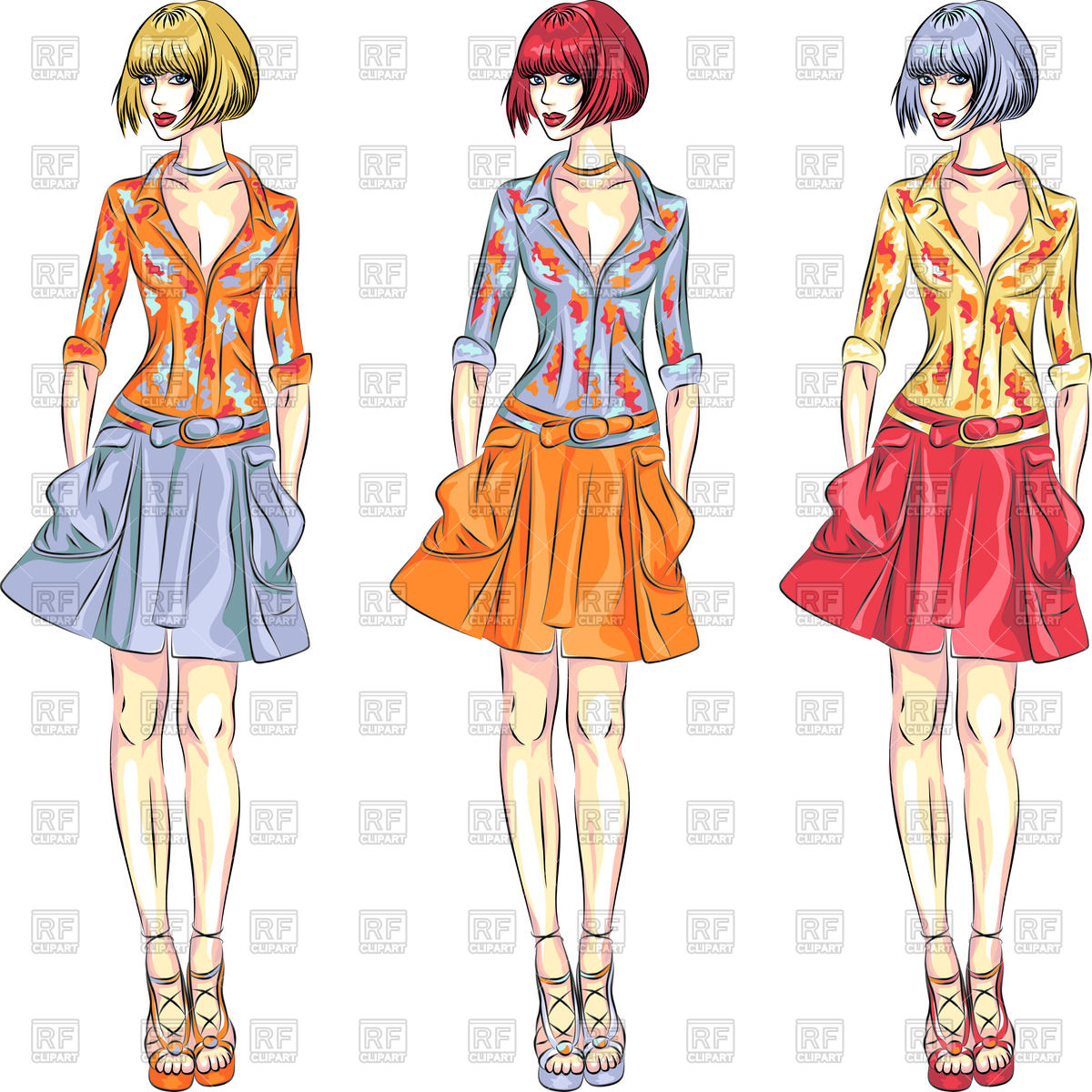 Fashionable top models girls in summer or spring clothes Vector.