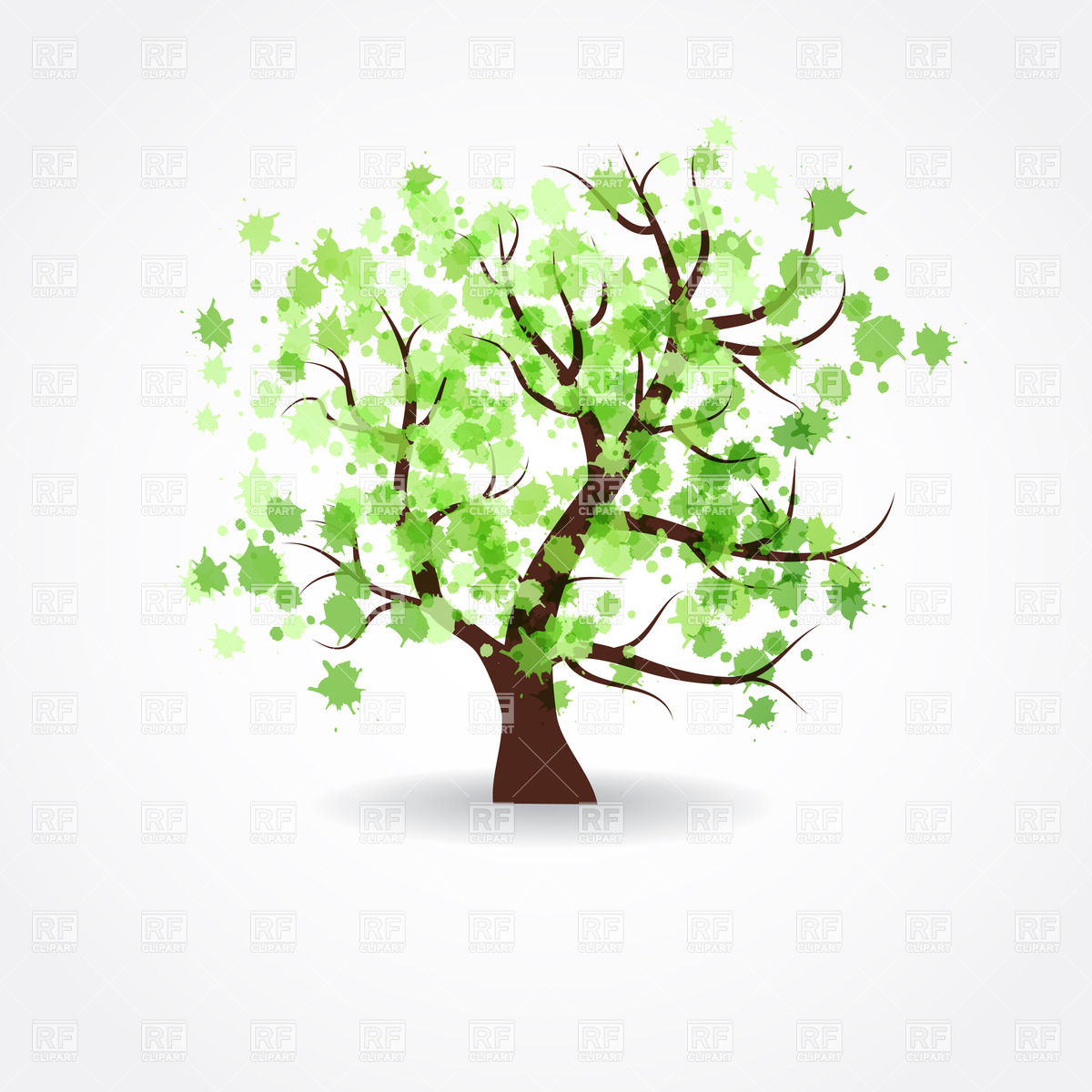Crown of a spring tree made of paint blots Vector Image #22082.