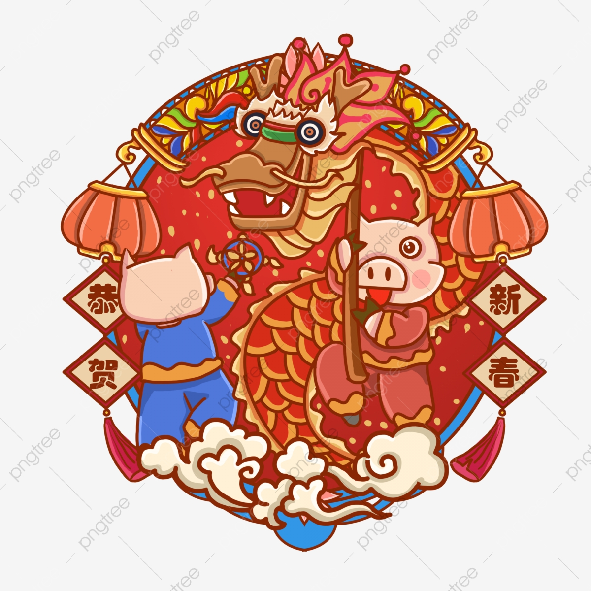 Dragon Dance Dragon New Spring Dragon Cloud, Happy, New Year.