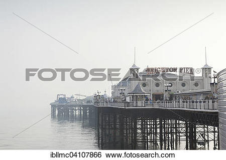Stock Images of Brighton Pier on a soft, warm, foggy spring day.