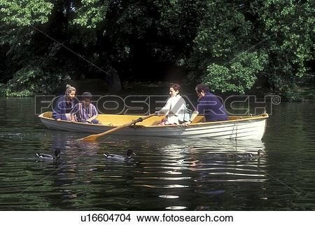 Stock Photo of Paris, France, Europe, Bois de Boulogne, row boat.