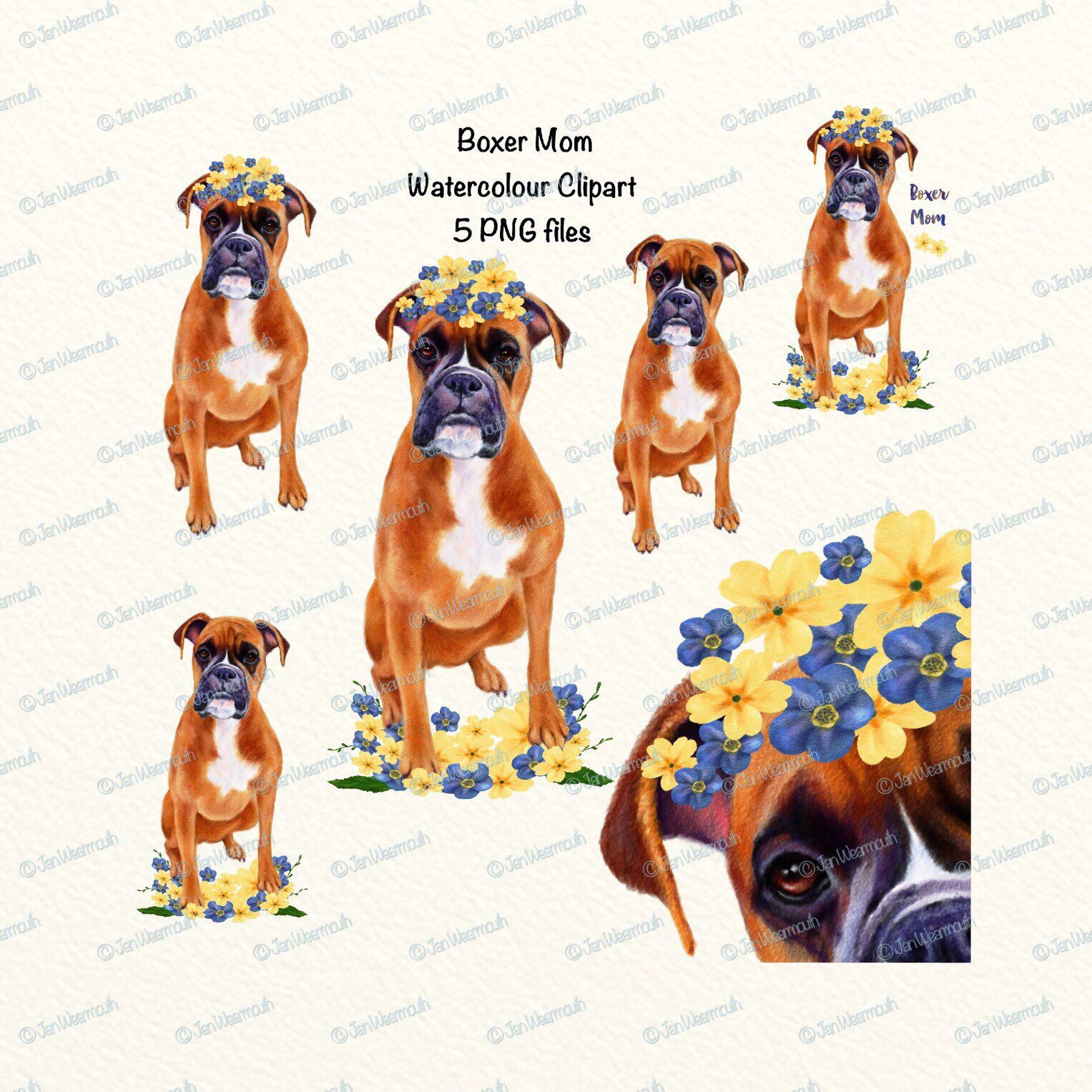 Mother\'s Day dog Mom Digital watercolor clipart. Dog clip.