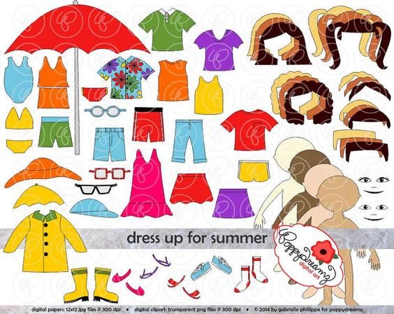 Dress Up for Summer Clothing and Paper Doll Clipart Set: Digital.