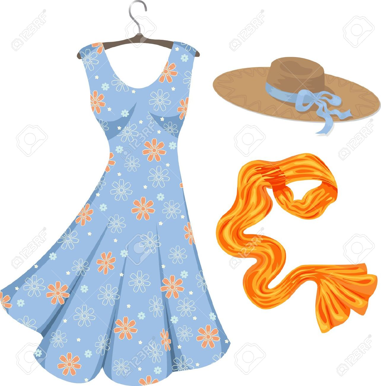 Spring dress clipart.