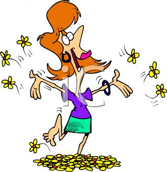 Royalty Free Clipart Image: Lady with Spring Fever Running.