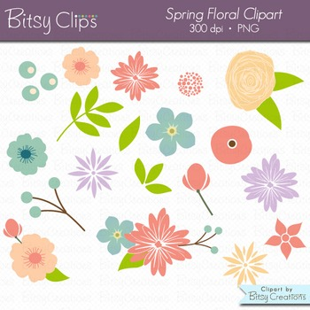 Spring Floral Flowers Digital Art Set Clipart Commercial Use Clip Art.