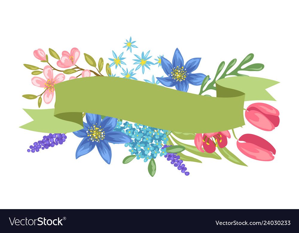 Banner with spring flowers.