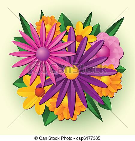 EPS Vectors of Spring Flower Bouquet.