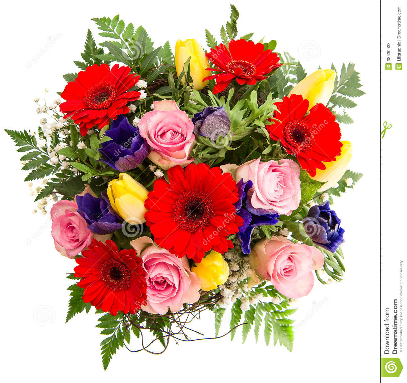 Fresh Colorful Spring Flowers Bouquet Stock Photos.