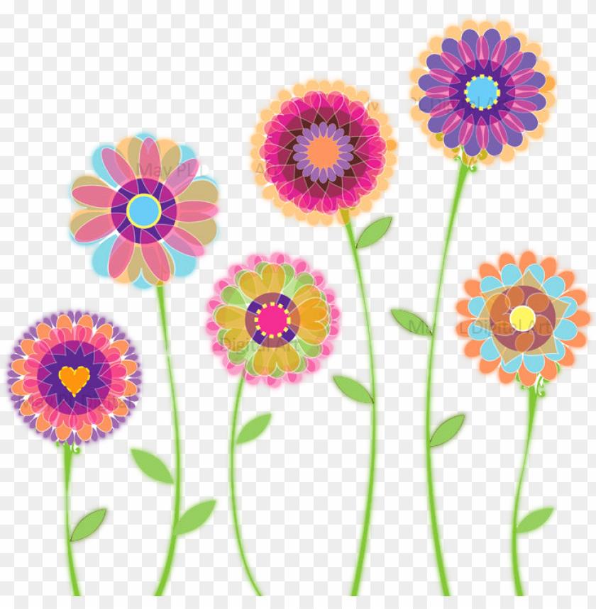 blue floral clip art, children watercolor flower, floral.