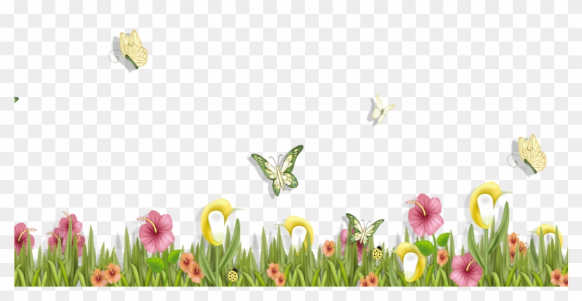 Grass With Butterflies And Flowers Png Clipart Spring.