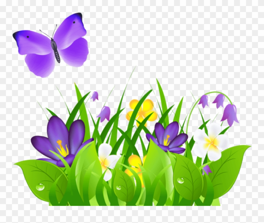 Free Png Purple Flowers Grass And Butterflypicture.