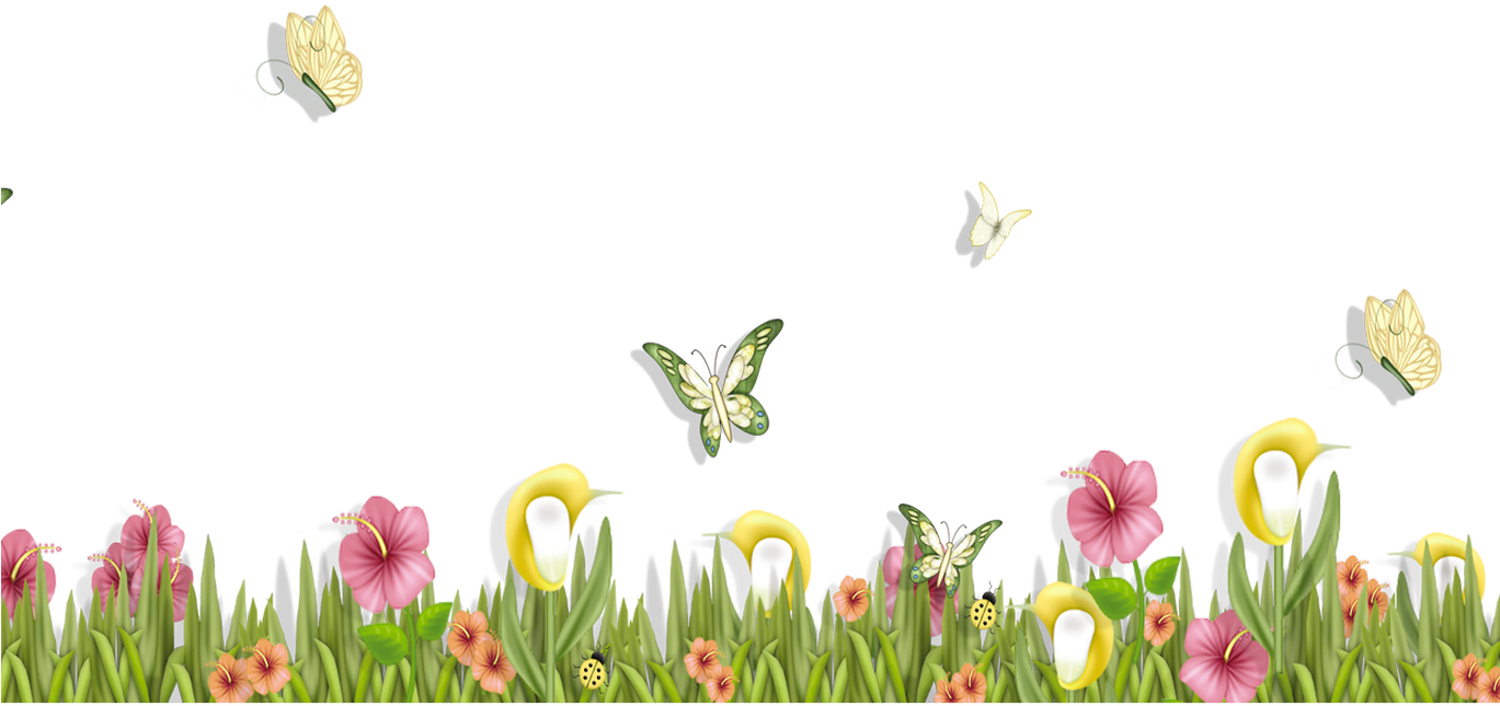 HD Grass With Butterflies And Flowers Png Clipart Spring.