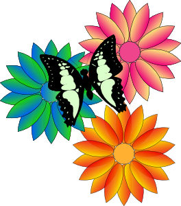 Pictures of spring flowers and butterflies clipart images.