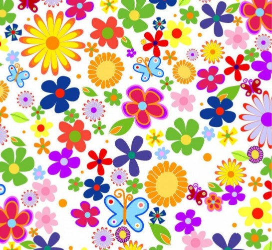 Spring Flowers Background Vector Graphic.