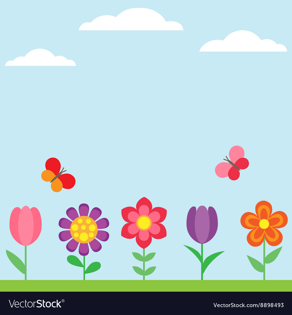 Spring flower background with butterflies.
