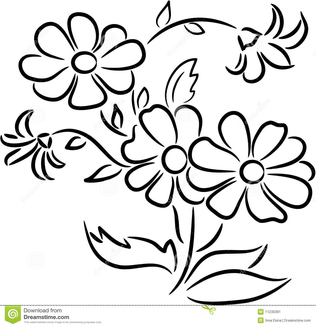 Spring Flowers Clipart Black And White (99+ images in.