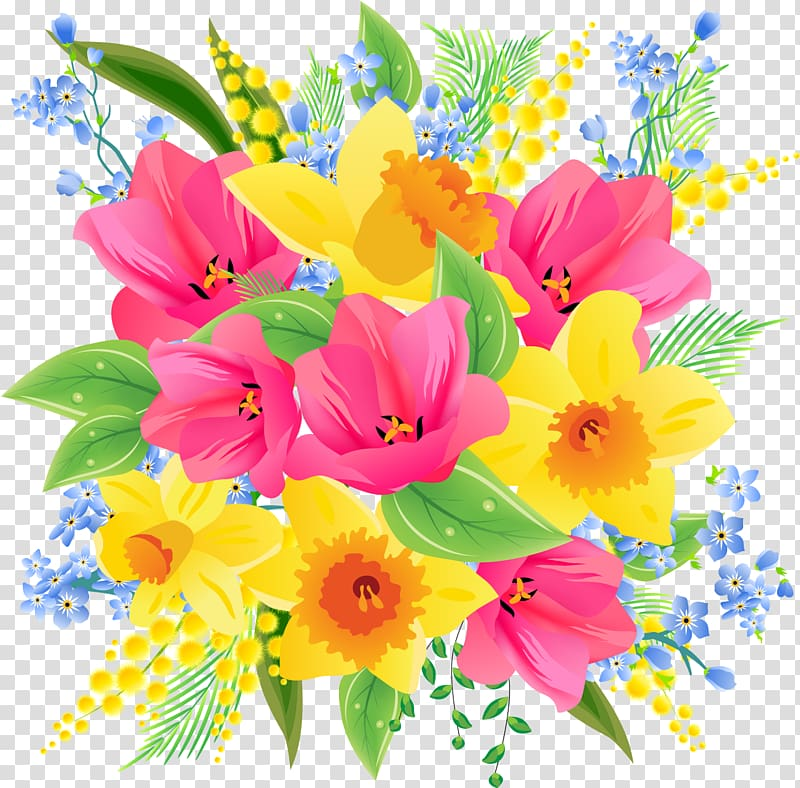 Flower bouquet , spring flowers transparent background PNG.