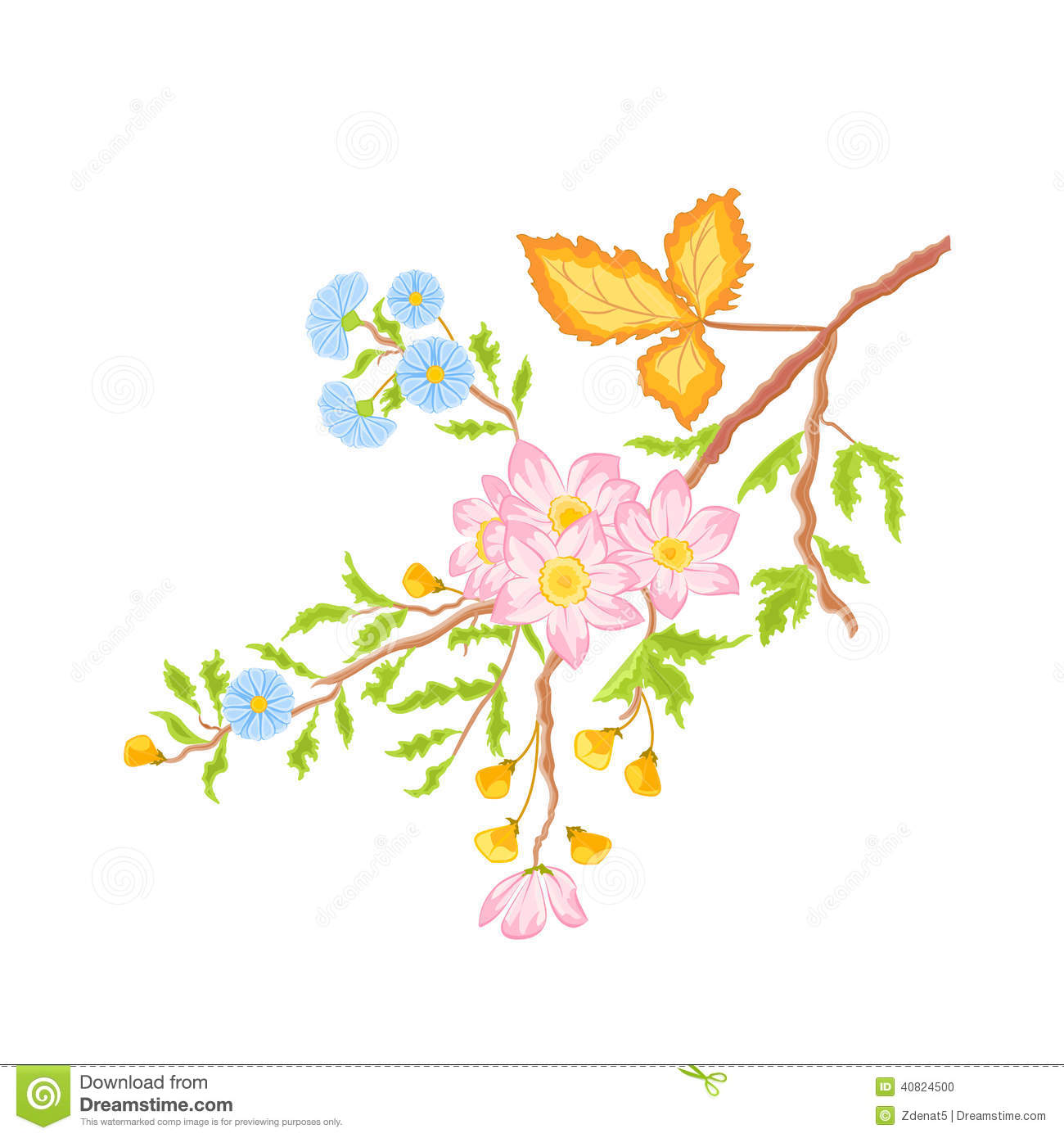 Twig Shrub Whit Spring Flowers Vector Without Gradients Stock.